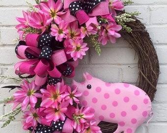 Grapevine Pig Wreath, Pig Wreath, Spring Wreath, Summer Wreath, Grapevine Wreath, Farm Wreath