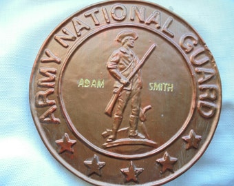FREE SHIPPING, Name Engraved National Guard  Stone, Finished in Real Metal Bronze and Copper Powder