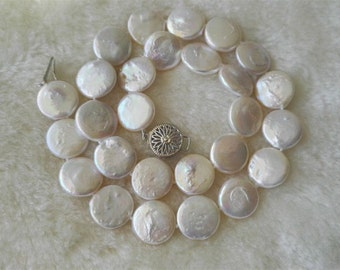 Pearl Necklace- big pearl necklace, 13-14 mm white coin pearl necklace