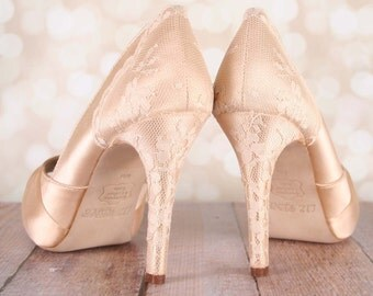 Wedding Shoes, Gold Wedding Shoes, Lace Bridal Heels, High Heel Shoes, Peeptoe Shoes, Wedding Shoe Ideas, Custom Wedding