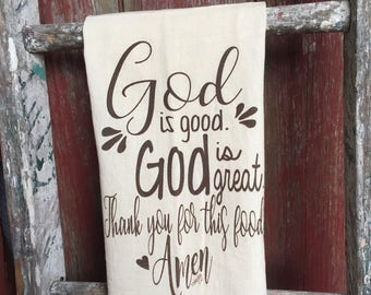 God is great flour sack towel