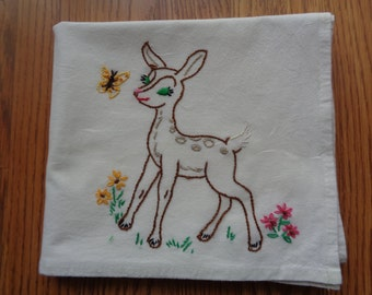 FRISKY FAWN Cotton Embroidered Dish Towel  Woodland Creature