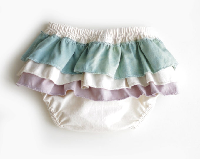 Ruffled Diaper Cover in Purple and Teal // Organic Diaper Cover // Purple and Teal Ruffled Diaper Cover // Organic Bloomers // Baby Bloomers