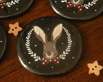 Christmas Magnet featuring a very elegant Christmas Rabbit (black)