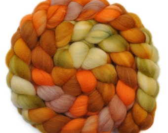 Hand painted roving - Superwash Merino Wool / Nylon  85/15% spinning fiber - 4.1 ounces - Riot Act 2