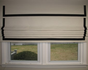 FAUX Roman-Shade/Valance - 60'' wide x 24'' long-idea-for-kitchen-bath-room-play-room-family-room - Pick a Color - Fabric and Ribbon