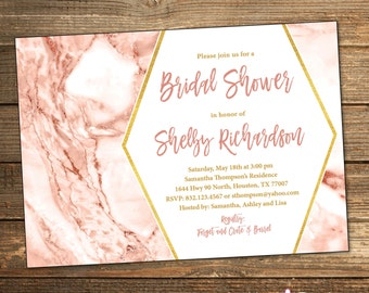 Rose Gold Bridal Shower Invitation, Marble Bridal Shower, Wedding Shower Invitation, Rose Pink and Gold, Metallic (PRINTABLE FILE)