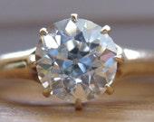 FINALY PAYMENT for D:  Vintage Antique European Cut Diamond Engagement Solitaire Ring OEC 1.08ct 14k