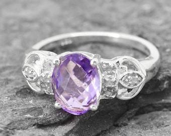Amethyst Ring, 1.75 ct, Birthstone Ring, February, Gemstone Ring, Sterling Silver Ring, Solitaire Ring, Statement Ring