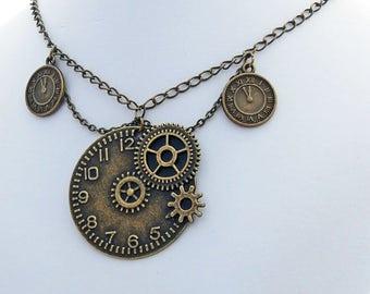 Steampunk Victorian Clock Pendant Handmade Choker Necklace
