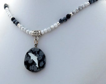 Obsidian Dolphin Howlite Natural Stone Pendant Necklace