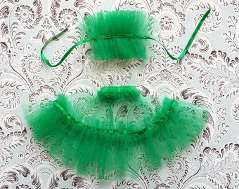 "Bright Green Tulle Petticoat and Collar Set for 12"" Blythe"