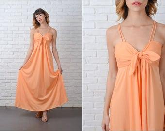 Vintage 70s Orange Boho Dress Hippie Bow Spaghetti Strap XS 9152