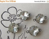 SALE 2-Loop Connectors 8mm Vintage Crystal Glass Octagon Rhinestones in Oxidized Brass Settings (4)