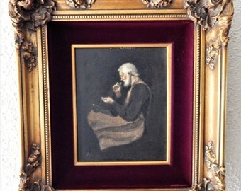 Sale Antique Vintage Oil Painting Art Portrait of Old Man European Genre Gold Frame O/B Home Decor