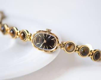 Ladies watch bracelet Ray, cocktail lady's watch gold plated, oval face woman watch, Tiger Eye stones watch bracelet, black face watch 90s