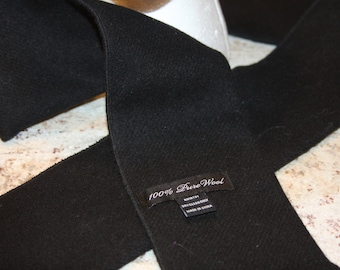 Black 100% Pure Wool Scarf - Double Fold - 4 x 59""
