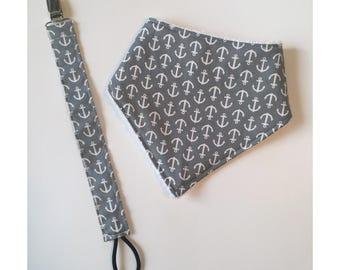 Gray Anchor Bib and Paci Set