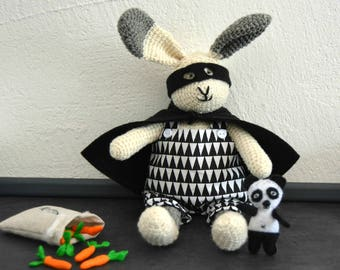 Jo, little bunny and his friend the panda, crochet bunny, crochet toy, Ready to ship