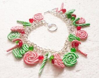 Candy Cane Bracelet.  Polymer clay.
