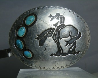 Large Sterling Silver Turquoise Vintage Belt Buckle Southwestern End of the Trail Design Traditional Native Apparel DanPickedMinerals