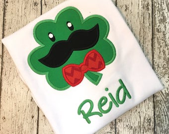 St. Patrick's Day Shirt, Petsonalized St. Patrick's Day Shirt, St. Patrick's Day Shamrock with Mustache- St. Patrick Day - Shamrock Shirt