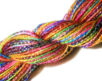 Metallic Rainbow Yarn - Sparkling Hand Dyed Wool Yarn Cord, 55 yards - for Dream Catchers, Felting, Hair Bow Supply, Tapestries, Gift Wrap