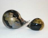 Isle of Wight Glass Pair of Hedgehog Figurines Paperweights Gold Leaf  Black Azurene Michael Harris