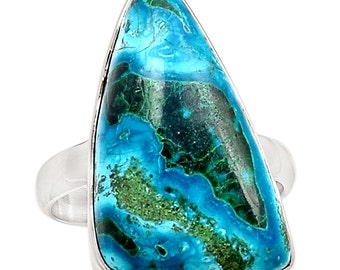 Malachite In Chrysocolla Congo Sterling Silver Ring  sz 10 Natural