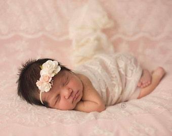 Baby Girl Headband, Ivory and Peach Newborn Headband, Rose Headband, Toddler Headband, Headband, Peach Baby Headband, Flower Headband