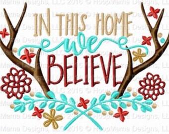 In this home, we believe - Holiday applique shirt - Christmas shirt - applique design -monogram shirt - Christmas