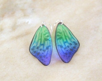 Petite Blue and Green Translucent Butterfly Wing Resin Earrings