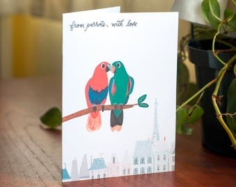 From Parrots, With Love: Art Print Occasion Card