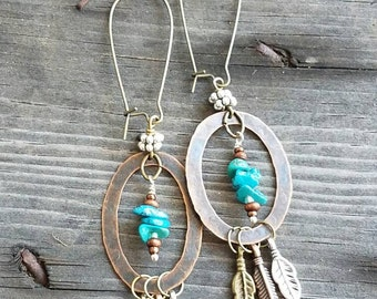 Turquoise Earrings Feather Earrings Hoop Earrings Boho Earrings Southwestern Earrings Flea Market Arizona New Mexico Long Earrings Copper