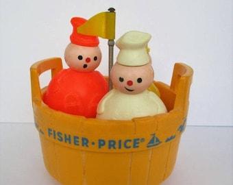 Spring SALE 20% OFF Vintage Fisher Price THREE Men in a Tub...Butcher, Baker, & Candlestick Maker #142