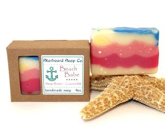 Beach Babe Handmade Soap - Beach Soap - Tropical Soap - Vegan Soap - Mango Butter  - Coconut Milk - Artisan Soap