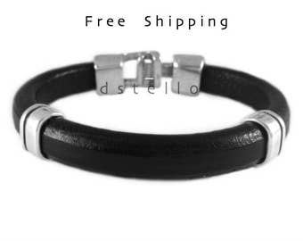 Mens bracelet, Spanish leather bracelet and sturdy antique silver plated hammered clasp,  Perfect gift accessory for men,