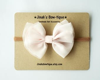 Chiffon Bow in Pale Pink- Headband Nylon Skinny Headband or Hair Clip