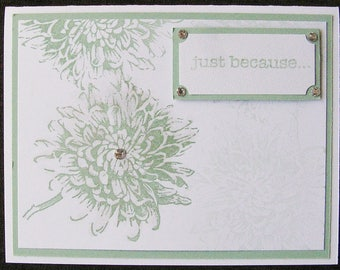 Handmade Birthday Card, Flower, Pale Green, Blank Inside