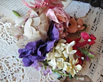Antique Vintage Velvet Millinery Flowers Posy - #34