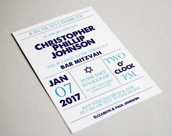 Blue Bar Mitzvah Invitations