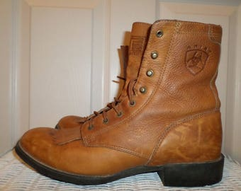 Vintage Ariat Boots Brown Leather 9 B Roper Lace Up Ankle Boots  Grunge Boho bohemian Shoes