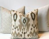 Ikat decorative pillow cover, light blue, brown and grey, throw pillow