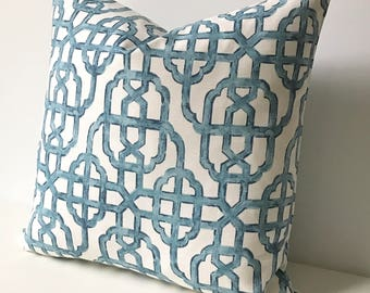 CLEARANCESALE Navy blue trellis decorative pillow cover, imperial lattice pillow