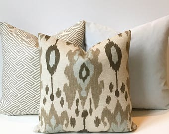 Ikat decorative pillow cover, light blue, brown and grey, throw pillow