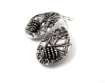 Silver Earrings, Pine Cone, Dangling Earrings, Pine Cone Earrings, Pine Cone Jewelry, Silver Pine Cone, Silver Pine Cone, Pine Cones, 1265a