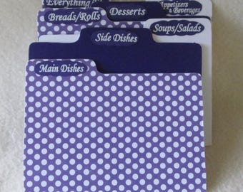 Recipe Box Dividers - Purple and White  Polka Dot - Handcrafted - Heirloom Quality