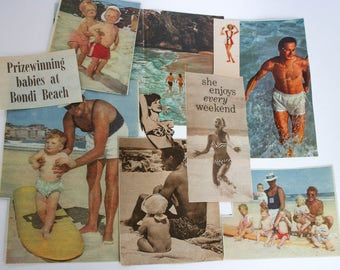 At the Beach Craft Pack: Babies, Family Fun, 10 Vintage Collage Paper Ephemera Pieces; Mid Century Magazine Cut Outs.  Inspiration Kit