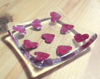 Heart Tea Light Holder, Glass Heart, Love Hearts, Copper Heart, Heart Decor, Valentine's Gift, Wedding Gift, Anniversary Gift, Candle Holder