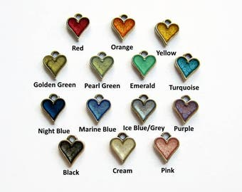Add On Heart Charm, Hand Painted Heart Charm, Paint and Resin Charm, Personalise Your Jewellery